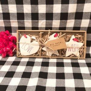 Rae Dunn Christmas LOVE JOY WISH ornaments